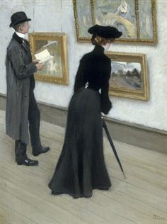 At The Gallery by Paul Gustave Fischer (Danish 1860-1934)
