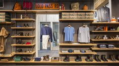 Danner at Union Way, Portland: Best Men's Stores in America Industrial Apartment, Industrial Shelving, Urban Industrial, Shelving Design, Shelving Ideas, Shelves, Clothing Displays, Commercial Construction, Store Interiors
