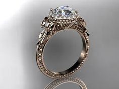 Hand Crafted 14kt rose gold diamond unique engagement ring,wedding ring ADER157 by Anjays Designs | CustomMade.com