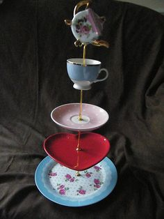 Pink Roses and Heart Cake Stand Alice Wonderland Mad Hatters Tea Party   eBay