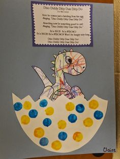 The Stuff We Do ~ Egg cut from poster board. Bingo Dabbed Dots, colored baby dinosaur, then rocked out to the song! ~ Sherry and Melissa