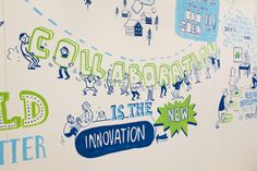 Scriberia's InnovationLive wall at Davos WEF < Great use of limited color palette + scale of information large and small.