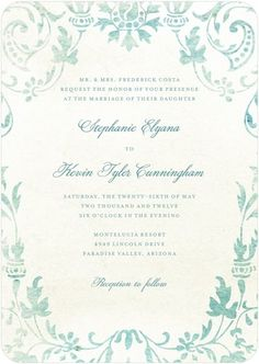 Signature White Textured Wedding Invitations Washed Damask - Front : Seafoam