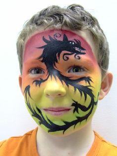 A full face dragon design.