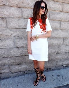 @tibi  coral dress and gladiator sandals