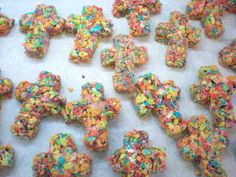 Crosses made with Fruity Pebbles - cute for Baptism or First Communion