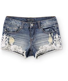 Add a touch of feminine style to your warm weather wardrobe with these dark wash denim cut-off shorts that are finished with distressed detailing and crochet trim at the sides and hem. Dark Jeans, Distressed Denim Shorts, Crochet Trim, Feminine Style, Stretch Denim, My Style, Warm Weather, Touch, Clothes