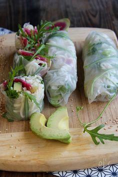 Nudel-Frühlingsrollen, Avocado und Rettich Red meat