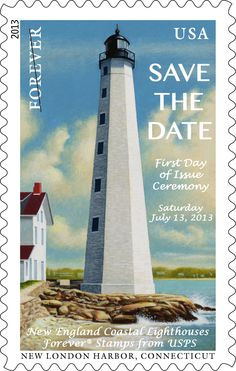 Save the date! Official First Day of Issue events for the New England Coastal Lighthouses Forever® stamps will take place on Saturday, July 13, 2013, at 10 a.m. Special ceremonies will be held at five locations around New England. In Connecticut, come join us at: Custom House Maritime Museum, 150 Bank Street, New London, CT.