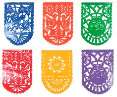 Give your fiesta an authentic Mexican flair with these plastic fiesta picado banners. Each banner is diecut with Mexican folk art designs. Each string of flags is 12.5 ft. long. Sold in sets of two.