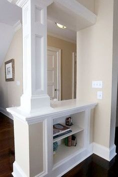 interior columns with shelving. Dining Room Pictures For Walls Interior Columns, Interior Trim, Interior Design, Interior Rendering, Interior Paint, Home Design, Design Design, Living Room New York, Plafond Design