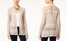American Rag Pointelle-Knit Lace-Panel Cardigan - Juniors Sweaters - Macy's