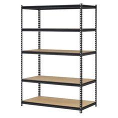 Black Steel Storage Rack 5 Adjustable Shelves 4000 Lb. Capacity Garage Workshop