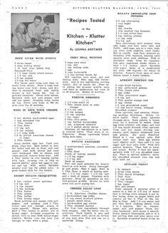 Kitchen Klatter Magazine, June 1948 - Beef Liver with Onions, Eggs in Rice with Cheese Sauce, Sweet Potato Croquettes, Corn Meal Muffins, French Dressing, Potato Pancakes, Cheese Salad Loaf, Banana Chocolate Chip Cookies, Apricot Chiffon Pie, Spinach Treat