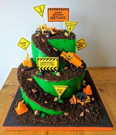 """Just 1 layer with the road coming down & green grass icing and digger pushing """"dirt"""" Digger Birthday Cake, 3 Year Old Birthday Party Boy, Digger Cake, Toddler Birthday Cakes, Truck Birthday Cakes, 3rd Birthday, Birthday Ideas, Kids Construction Cake, Construction Birthday Parties"""