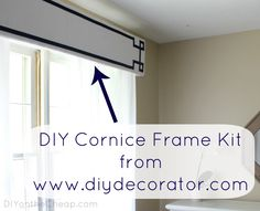 DIY Cornice Frame Kit from diydecorator.com. You customize with fabric of your choice! Review via DIYontheCheap.com.
