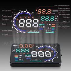 A8 5.5inch Car HUD Head Up Display with OBD2 Interface Plug Sale-Banggood.com