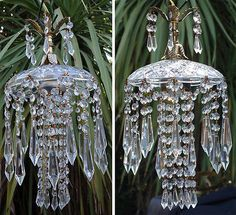 1o6 SWAG hanging Jelly Fish inspired vintage Lamp Chandelier brass crystal glass- verzilla.com