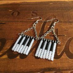 Handmade Beaded Piano Fringe Earrings Seed Beaded Earrings