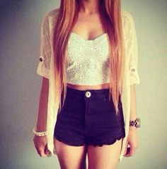 Pretty summer outfit & straight blonde hair over her shoulders.