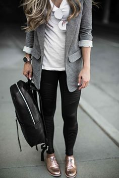 street style, fall fashion, blazer, leather backpack, blonde hair, details, rose gold shoes