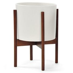 Case Study Small Ceramic Cylinder with Wood Stand - White