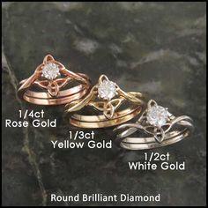 Triquetra Interlocking Engagement Ring Wedding Set with Diamond