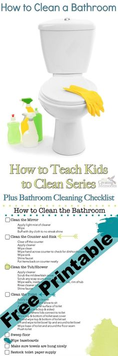 Teach Kids to Clean a Bathroom + Checklist PrintableDon't live with a half clean bathroom again! Use this Bathroom Cleaning Checklist to help teach your kids how to clean a bathroom correctly the first time! Deep Cleaning Tips, House Cleaning Tips, Diy Cleaning Products, Cleaning Solutions, Spring Cleaning, Cleaning Hacks, Cleaning Wipes, Daily Cleaning, Bathroom Cleaning Checklist