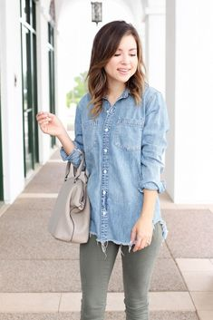 Fashion blogger Simply Sutter // inexpensive denim shirts and how to style them