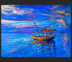 Original Oil Painting on Canvas Blue sea and by IvailoNikolov