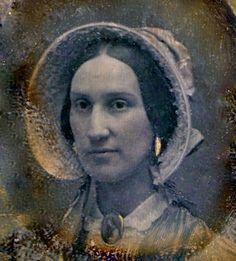 Beauty in a Bonnet, 16th-Plate Daguerreotype, Circa 1851.  Great earrings and brooch/ wow what a pretty bonnett