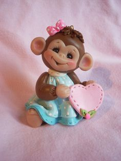 *POLYMER CLAY ~ monkey cake topper Christmas ornament  polymer clay personalized childrens baby shower handcrafted.