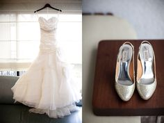 Badgley Mischka shoes with wedding dress by Brandon Wong Photography