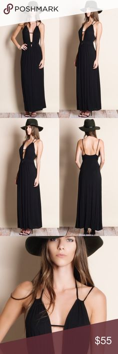 DAISY Open Back Maxi Dress - BLACK Deep plunge neckline. 95% rayon, 5% spandex Bellanblue Dresses Maxi