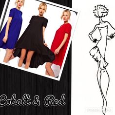 Gorgeous diva Plus High Low Dress Diva Plus! Cute high/low dress with short sleeves. Red, Black, or Cobalt Blue. Dress has a full swing in the back. Cute Spring Dress. Have red in XL & XXL. Blue in XXL. XL-Size 14/16. XXL-Size 18/20. Cosb Dresses High Low