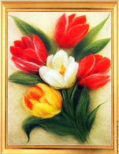 """Купить картина """"Тюльпаны"""" живопись шерстью - купить картину из шерсти, купить куртину, картина с цветами"""