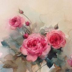 Watercolor by Phatcharaphan Chanthep Watercolor Art, Colorful Art, Flower Painting, Art Painting, Leaf Art, Rose Painting, Floral Art, Beautiful Paintings, Floral Watercolor