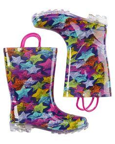 Kid Girl Western Chief Scribble Stars Light Up Rain Boots | Carters.com