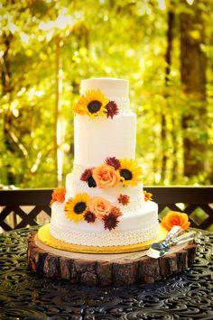 Fall Wedding Cake with Sunflowers