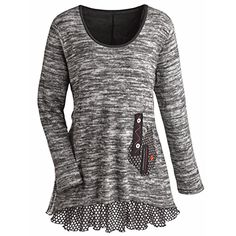 Womens Tunic Top  Heather Gray Knit Sweater With Ruffled Hemline  Small ** Continue to the product at the image link.(This is an Amazon affiliate link)
