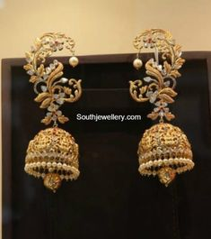 Antique Gold Lakshmi Jhumkas - online gold jewellery, marcasite jewelry, online store for jewellery *ad Gold Jhumka Earrings, Jewelry Design Earrings, Gold Earrings Designs, Gold Jewellery Design, Designer Earrings, Indian Gold Jewellery, Jhumka Designs, Marcasite Jewelry, Jewellery Uk