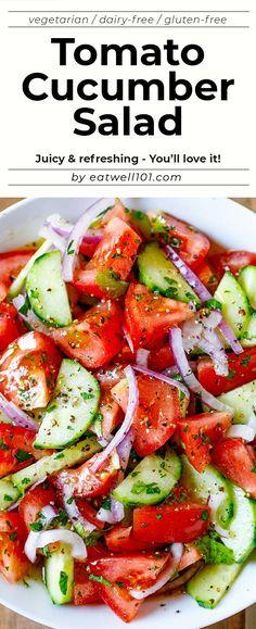Cucumber Tomato Salad, Tomato Salad Recipes, Vegetarian Salad Recipes, Cucumber Recipes, Best Salad Recipes, Salad Recipes For Dinner, Healthy Salads, Vegan Recipes, Cooking Recipes
