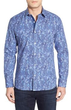 Bugatchi Shaped Fit Washed Floral Print Sport Shirt