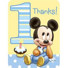 Mickey Mouse 1st Birthday Thank You Notes