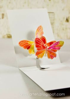 handmade card from Annikarten ... two gorgeous watercolor butterflies pop-up when card opened ... delightful!!