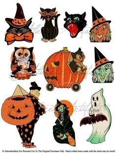 Printable Retro Halloween Clip Art Printable Vintage Halloween Scraps Ghost Witch Owl Black Cat Digital Collage Sheet Instant   Download by AlteredArtifacts on Etsy https://www.etsy.com/listing/208180311/printable-retro-halloween-clip-art
