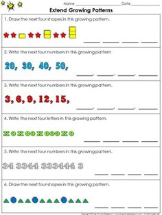 Patterns: Growing Patterns (Extend) Practice Sheets - King Virtue's Classroom These practice sheets are great for practice and assessing students' ability to extend growing patterns. You can use one as a pre-test and the second as a post test. Teaching Patterns, Math Patterns, Number Patterns, Maths 3e, Primary Maths, Second Grade Math, Grade 2, Pattern Worksheet, Math Sheets