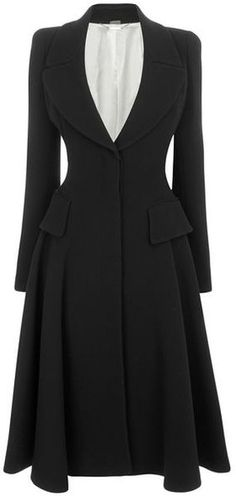 Alexander McQueen Black Crepe Wool Riding Coat.
