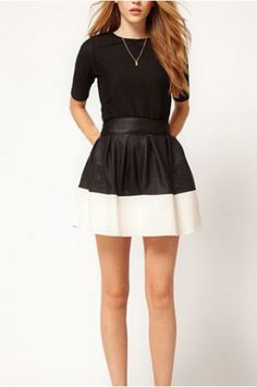 Black and white Mosaic leather skirt of tall waist_Skirts_CLOTHING_Voguec Shop