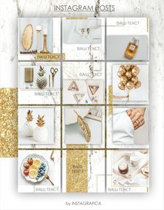 Feeds Instagram, Instagram Grid, Instagram Design, Instagram Posts, Instagram Feed Theme Layout, Marble Gold, Vsco Themes, Color Dorado, Floral Logo